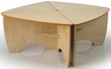 Children's Contemporary Laminate Birchwood Desk with Non-Toxic UV Finish - 26''W x 26''D x 19''H [WB7804-WBR]