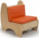 Children's Contemporary Reading Chair with Comfortable Orange Cushions - 19.25''W x 27.3''D x 24.5''H [WB7802-WBR]