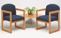 Classic Series Round Back Guest Chairs with Sled Base and Connecting Corner Table [C2321G3-FS-RO]