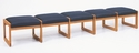 Classic Series 5 Seat Backless Bench with Sled Base [C5001B3-FS-RO]