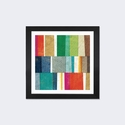 Colorful Abstract by Michael Mullan Artwork on Fine Art Paper with Black Matte Hardwood Frame - 16''W x 16''H x 1''D [WAC3755-1PFA-16X16-FM01-ICAN]