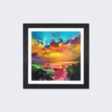 Consonance And Disonance by Scott Naismith Artwork on Fine Art Paper with Black Matte Hardwood Frame - 16''W x 16''H x 1''D [SNH57-1PFA-16X16-FM01-ICAN]
