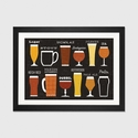 Craft Beer List by Michael Mullan Artwork on Fine Art Paper with Black Matte Hardwood Frame - 32''W x 24''H x 1''D [WAC3899-1PFA-32X24-FM01-ICAN]