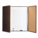 Enclosed Walnut Melamine Planning Markerboard with Pebble Grain Tackboard - 40''H x 40''W x 3''D [WP-40-AA]