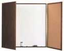 Enclosed Walnut Melamine Planning Markerboard with Pebble Grain Tackboard - 48''H x 48''W x 3''D [WP-48-AA]
