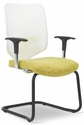Newair 20.5'' W x 22.75'' D x 38.75'' H Guest Chair with Cantilever Base - White Back with Black Base [E-67650-FS-EOF]