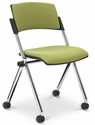 Xilla 23.5'' W x 20.2'' D x 32.7'' H Armless Nesting Chair with Upholstered Seat and Back - Set of Four - Chrome Frame [E-18850-CF-EOF]