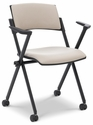 Xilla 23.5'' W x 20.2'' D x 32.7'' H Nesting Chair with Upholstered Back with Arms - Set of Four - Black Base [E-18850A-BF-EOF]