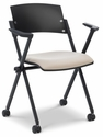 Xilla 23.5'' W x 20.2'' D x 32.7'' H Nesting Chair with Poly Back and Upholstered Seat - Set of Four - Black Base [E-18750A-BF-EOF]