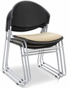 Zazz Upholstered Seat and Poly Back Stacking Guest Chair - Set of Four [PS-1420-UA-EOF]