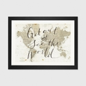 Get Out and See the World by Sara Zieve Miller Artwork on Fine Art Paper with Black Matte Hardwood Frame - 24''W x 16''H x 1''D [WAC3125-1PFA-24X16-FM01-ICAN]
