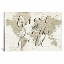 Get Out and See the World by Sara Zieve Miller Gallery Wrapped Canvas Artwork with Floating Frame - 27''W x 19''H x 1.5''D [WAC3125-1PC6-26X18-FF01-ICAN]