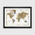 Gilded Map by All That Glitters Artwork on Fine Art Paper with Black Matte Hardwood Frame - 24''W x 16''H x 1''D [WAC3210-1PFA-24X16-FM01-ICAN]