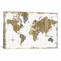 Gilded Map by All That Glitters Gallery Wrapped Canvas Artwork - 40''W x 26''H x 0.75''D [WAC3210-1PC3-40X26-ICAN]