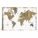 Gilded Map by All That Glitters Oversized Gallery Wrapped Canvas Artwork - 60''W x 40''H x 1.5''D [WAC3210-1PC6-60X40-ICAN]