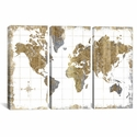 Gilded Map by All That Glitters Triptych Gallery Wrapped Canvas Artwork - 60''W x 40''H x 0.75''D [WAC3210-3PC3-60X40-ICAN]