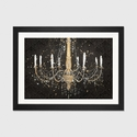 Grand Chandelier Black I by James Wiens Artwork on Fine Art Paper with Black Matte Hardwood Frame - 24''W x 16''H x 1''D [WAC3710-1PFA-24X16-FM01-ICAN]