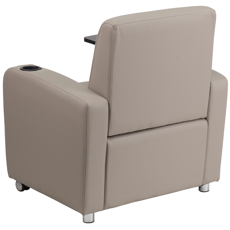Gray Leather Guest Chair With Tablet Arm Front Wheel Casters And Cup Holder Bt 8217 Gv Cs Gg