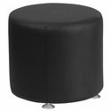 HERCULES Alon Series Black Leather 18'' Round Ottoman [ZB-803-RD-18-BK-GG]