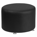 HERCULES Alon Series Black Leather 24'' Round Ottoman [ZB-803-RD-24-BK-GG]