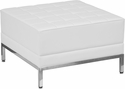 HERCULES Imagination Series Melrose White Leather Ottoman [ZB-IMAG-OTTOMAN-WH-GG]