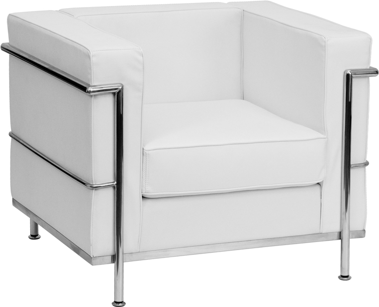 HERCULES Regal Series Contemporary Melrose White Leather Chair With  Encasing Frame [ZB REGAL 810 1 CHAIR WH GG]