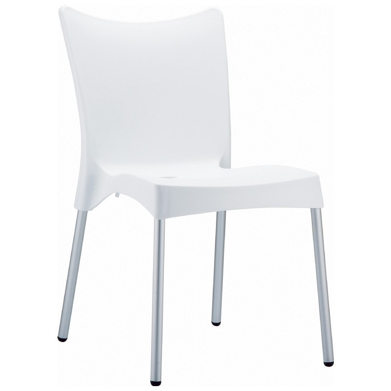 Juliette Outdoor Resin Stackable Dining Chair With Aluminum Legs   White  [ISP045 WHI FS CMP]