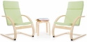 Kiddie Rocker Chair Set with Removable Cushion and Steam-Bent Plywood Construction - Sage Green [G6338K-FS-GUI]