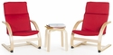 Kiddie Rocker Chairs Set with Removable Cushion and Steam-Bent Plywood Construction - Red [G6400K-FS-GUI]