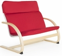 Kiddie Rocker Couch with Removable Cushion and Steam-Bent Plywood Construction - Red - 31.5''W x 19''D x 25''H [G6401K-FS-GUI]