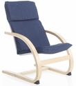 Kiddie Rocker with Removable Cushion and Steam-Bent Plywood Construction - Denim - 16''W x 19''D x 25.5''H [G6620K-FS-GUI]