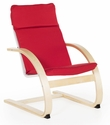 Kiddie Rocker with Removable Cushion and Steam-Bent Plywood Construction - Red - 16''W x 19''D x 22.5''H [G6339K-FS-GUI]