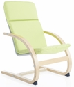 Kiddie Rocker with Removable Cushion and Steam-Bent Plywood Construction - Sage Green - 16''W x 19''D x 25.5''H [G6619K-FS-GUI]
