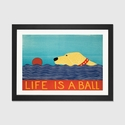 Life Is A Ball Yell by Stephen Huneck Artwork on Fine Art Paper with Black Matte Hardwood Frame - 24''W x 16''H x 1''D [STH62-1PFA-24X16-FM01-ICAN]
