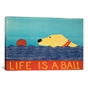 Life Is A Ball Yell by Stephen Huneck Gallery Wrapped Canvas Artwork - 26''W x 18''H x 0.75''D [STH62-1PC3-26X18-ICAN]