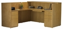Luminary Reception Station with Return and Two Box Box File Pedestals - Maple [RSRBBM-FS-MAY]