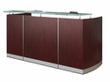 Medina 87.25'' W Reception Station with Frosted Glass Transaction Counter - Mahogany [MNRSLMH-FS-MAY]