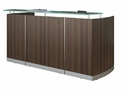 Medina 87.25'' W Reception Station with Frosted Glass Transaction Counter - Textured Brown Sugar [MNRSTBS-FS-MAY]