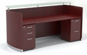 Medina 87.25'' W Reception Station with One Box Box File Pedestal and One File File Pedestal - Mahogany [MNRSBFLMH-FS-MAY]