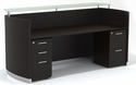 Medina 87.25'' W Reception Station with One Box Box File Pedestal and One File File Pedestal - Mocha [MNRSBFLDC-MAY]