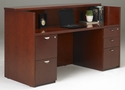 Mira Reception Station with One Box Box File Pedestal and One File File Pedestal - Medium Cherry on Cherry Veneer [MRSBFMC-MAY]