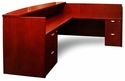 Mira Reception Station with Return and Two Box Box File Pedestals - Medium Cherry on Cherry Veneer [MRSRBBMC-FS-MAY]