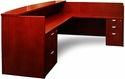 Mira Reception Station with Return and One Box Box File Pedestal and One File File Pedestal - Medium Cherry on Cherry Veneer [MRSRBFMC-FS-MAY]