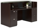 Mira Reception Station with Two Box Box File Pedestals - Espresso on Walnut Veneer [MRSBBESP-FS-MAY]