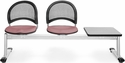 Moon 3-Beam Seating with 2 Coral Pink Fabric Seats and 1 Table - Gray Nebula Finish [333T-2208-GRY-MFO]