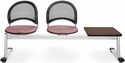 Moon 3-Beam Seating with 2 Coral Pink Fabric Seats and 1 Table - Mahogany Finish [333T-2208-MAH-MFO]