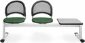 Moon 3-Beam Seating with 2 Forest Green Fabric Seats and 1 Table - Gray Nebula Finish [333T-2221-GRY-MFO]