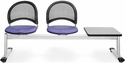 Moon 3-Beam Seating with 2 Lavender Fabric Seats and 1 Table - Gray Nebula Finish [333T-2202-GRY-MFO]
