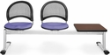 Moon 3-Beam Seating with 2 Lavender Fabric Seats and 1 Table - Mahogany Finish [333T-2202-MAH-MFO]