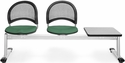 Moon 3-Beam Seating with 2 Shamrock Green Fabric Seats and 1 Table - Gray Nebula Finish [333T-2201-GRY-MFO]